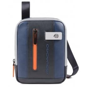 Small man bag Piquadro Urban blue and gray CA3084UB00 / BLGR
