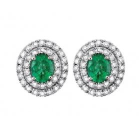 Salvini Lappenohrringe mit Diamanten und Smaragden 20057689