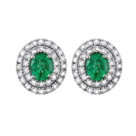 Salvini lobe earrings with diamonds and emeralds 20057689