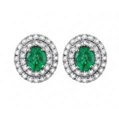 Salvini lobe earrings with diamonds and emeralds 20057689
