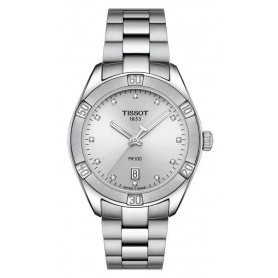 Tissot Pr100 Sport Chic watch dial with Diamonds