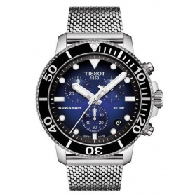 Tissot Seastar Chono Quartz blue steel milan mesh watch