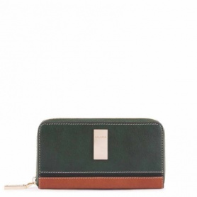Piquadro women's wallet with four compartments with zip, two-tone green