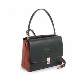 Piquadro Green woman shoulder bag with leather handle