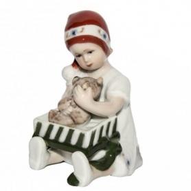Statuina Natalizia Elsa bambina con regalo Royal Bianco