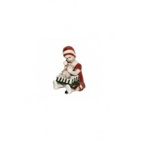 Statuina Natalizia Elsa bambina con regalo Royal rosso