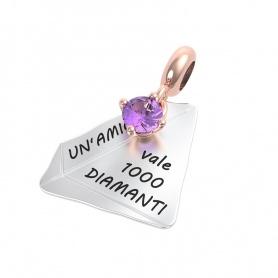 Rerum amethyst friendship diamond pendant - 25018