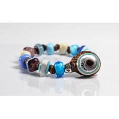 Moi bracelet with unisex celestial glass beads