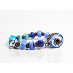 Moi bracelet with beads in celestial glass Turquoise unisex