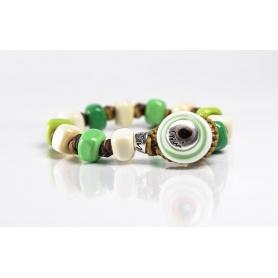Moi Viride bracelet with unisex green and white glass beads