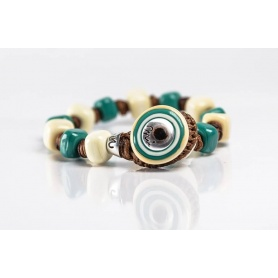 Moi Salina bracelet with unisex sand and light blue glass beads