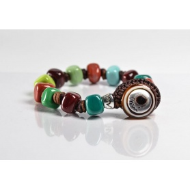 Moi Overland bracelet with unisex multicolored glass beads