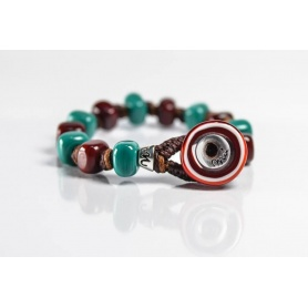 Moi Ottanio bracelet with unisex green and burgundy glass beads