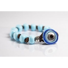 Moi Opale bracelet with unisex opalescent light blue glass beads