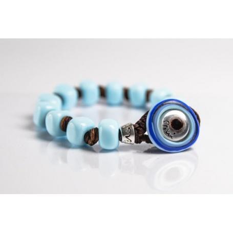 Moi Opale bracelet with unisex opalescent light blue glass beads
