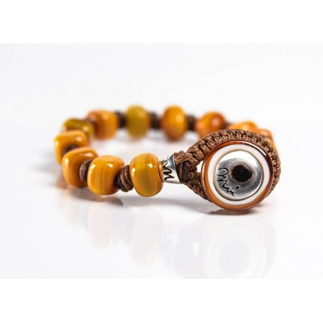 Moi Marrakech bracelet with unisex mustard glass beads
