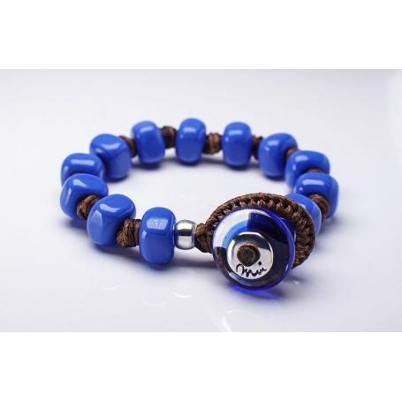 Moi Lapis bracelet with unisex intense blue glass beads