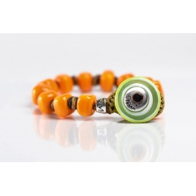 Moi Gulal bracelet with unisex orange glass beads