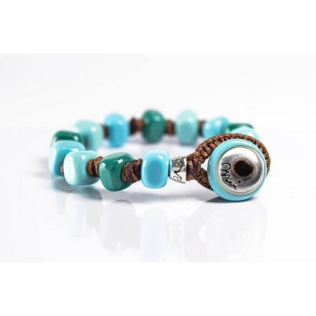 Moi Grecale bracelet with unisex light blue and green glass beads