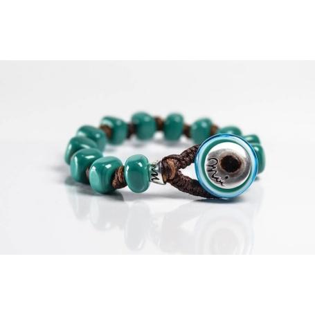 Moi Giada bracelet with unisex green glass beads
