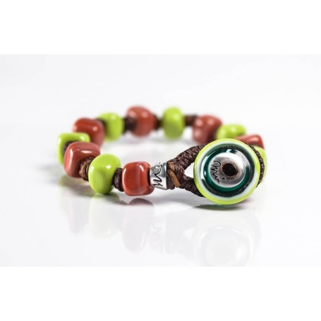 Moi Gaston bracelet with unisex orange and green glass beads