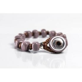 Moi Fango bracelet with unisex mud lilac glass beads