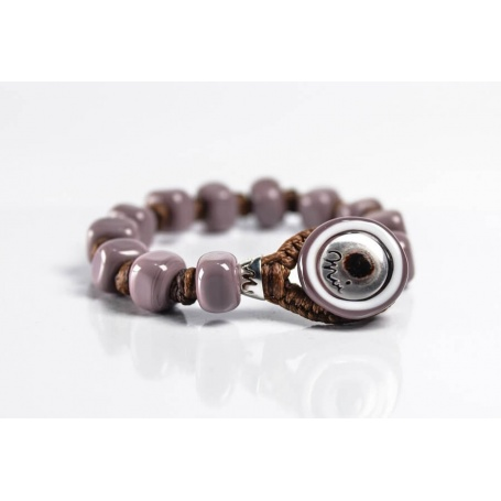 Moi Fango bracelet with unisex mud lilac glass beads