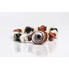 Moi Coriolano bracelet with unisex beige and caramel glass beads