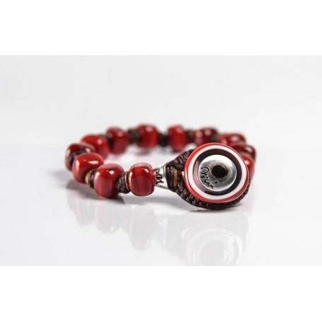 Moi Carmine bracelet with unisex red glass beads