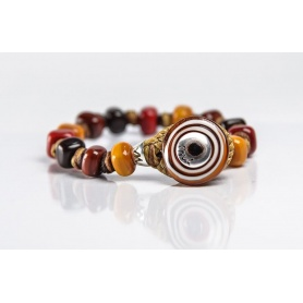 Moi Bruno bracelet with unisex warm tone glass beads