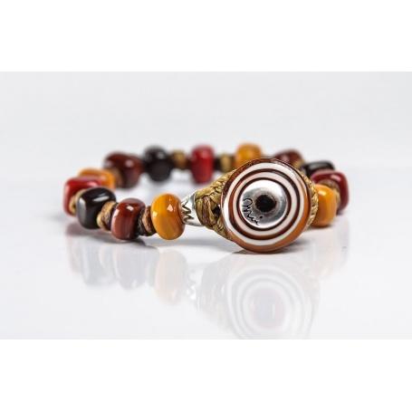 Moi Bruno bracelet with unisex warm tone glass beads