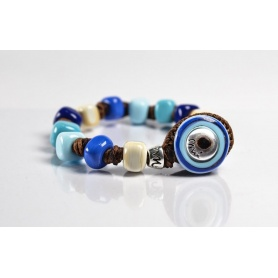 Moi Borea bracelet with glass beads in shades of blue unisex