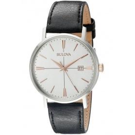 Bulova Aerojet Silver watch black leather strap 98B254