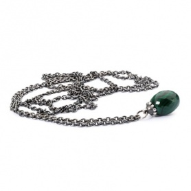 Silver Necklace with Malachite Trollbeads 80cm - TAGFA-00036