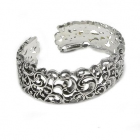 Open rigid bracelet Maria and Luisa in inlaid silver -BA0079