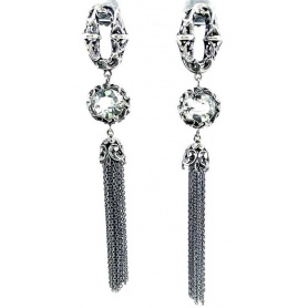 Maria and Luisa pendant earrings in inlaid burnished silver and rock crystal -OA0186 / V1 / S