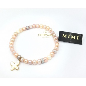 Mimì elastic bracelet with multicolor pearls and mother of pearl butterfly