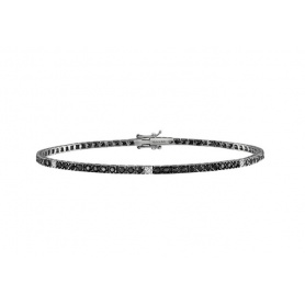 Salvini tennis bracelet in white gold with white and black diamonds
