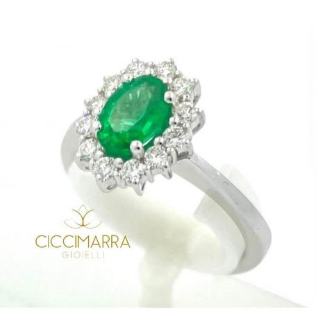 Giorgio Visconti emerald ring in white gold and diamonds AB15300S