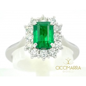 Giorgio Visconti emerald ring in white gold and diamonds AB16673BS