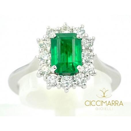 Giorgio Visconti emerald ring in white gold and diamonds AB16673BS