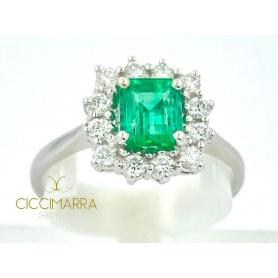 Ring mit Smaragd Ciccimarra Gioielli in Weißgold und Diamanten - CISM01