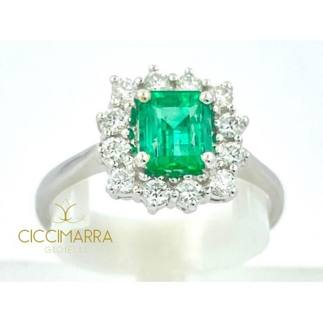 Ring with Emerald Ciccimarra Gioielli in white gold and diamonds - CISM01