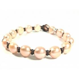 Mimì Armband Große cremefarbene Perlen und braune Kordel - B353O2AR