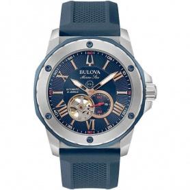 Bulova Automatic Marine Star watch blue rubber strap -98A282