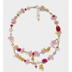 Misani necklace Accents collection with Rubies, Kunzite and Diamond