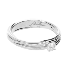 Filodellavita Solitaire 7 strands in white gold with diamond 0.14ct AN102BB / 14