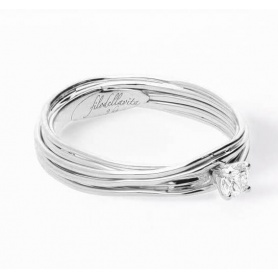 Filodellavita Solitaire 7 strands in white gold with diamond 0.18ct AN102BB / 18