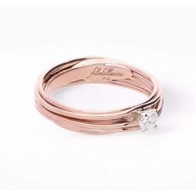 Filodellavita Solitaire 7 strands in Rose gold with diamond 0.18 ct -AN102RB