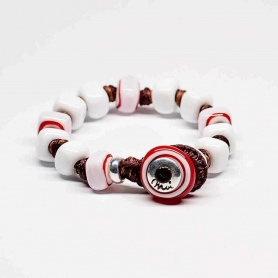 Moi Walter bracelet with white glass stones and red streaks